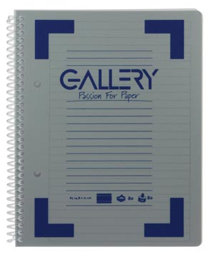 Gallery cahier à reliure spirale Traditional A5, 2 trous, ligné, couleurs assorties, 160 pages
