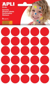 Apli Kids gommettes, cercle diamètre 20 mm, pochette de 180 pièces, rouge