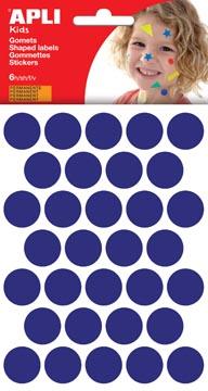 Apli Kids gommettes, cercle diamètre 20 mm, pochette de 180 pièces, bleu