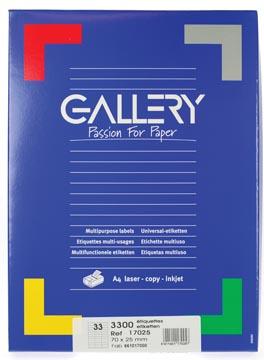 Gallery étiquettes blanches, ft 70 x 25 mm (l x h), coins carrés, 33 par feuille