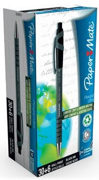 Paper Mate stylo bille Flexgrip Ultra RT noir, boîte 30 + 6 pièces gratuit