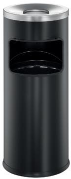 Durable poubelle avec cendrier Safe, 17 litre, en métal , noir