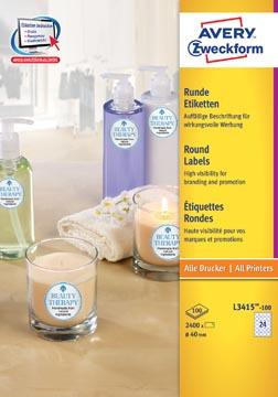Avery Zweckform L3415-100 étiquettes rondes, diamètre 40 mm, 2400 étiquettes, blanc
