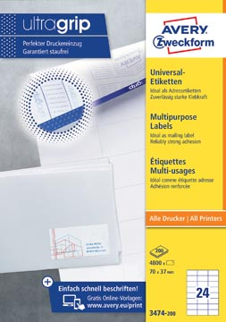 Avery Zweckform 3474, étiquettes universelles, Ultragrip, blanc, 200 feuilles, 70 x 37 mm