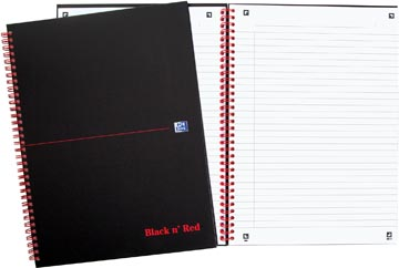 Oxford BLACK N' RED cahier spiralé en carton, 140 pages ft A4, ligné
