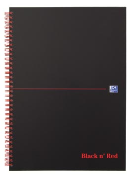 Oxford BLACK N' RED cahier spiralé en carton, 140 pages ft A4, quadrillé 5 mm