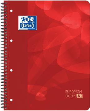 Oxford School Projectbook cahier à reliure, ft A4+, 4 trous, quadrillé 5 mm, rouge