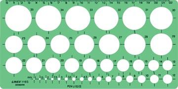 Linex gabarit de cercle 1 - 35 mm, contient 39 cercles et alignement millimétrique