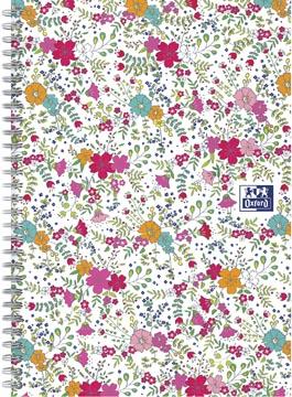 Oxford Floral couverture rembordée cahier à spirale, ft B5, 60 feuilles, ligné, blanc