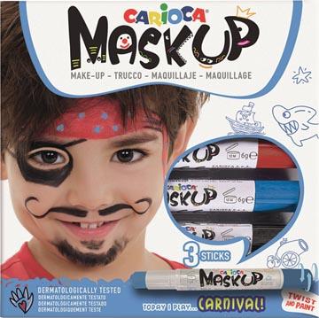 Carioca bâtons de maquillage Mask Up Carnaval, boîte avec 3 bâtons
