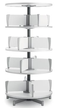 Moll colonne rotative Multifile, 4 étages, hauteur 159 cm, jusq'à 96 classeurs, blanc