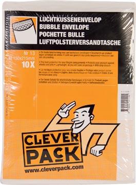 Cleverpack enveloppes à bulles d'air, ft 150 x 215 mm, avec bande adhésive, blanc, paquet de 10 pièces