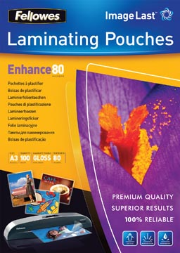 Fellowes pochette à plastifier Enhance80, ft A3, 160 microns (2 x 80 microns), paquet de 100 pièces