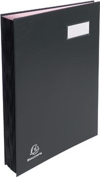 Exacompta signataire pour ft 24 x 35 cm, en carton couverte avec pvc, 20 compartiments, noir