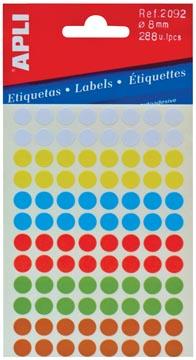 Apli étiquettes rondes en pochette diamètre 8 mm, couleurs assorties, 288 pièces, 96 par feuille (2092)