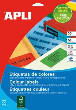 Apli étiquettes colorées ft 70 x 37 mm (l x h), jaune, 480 pièces, 24 par feuille (1591)