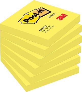 Post-it Notes, ft 76 x 76 mm, jaune néon, bloc de 100 feuilles