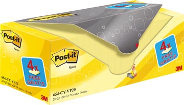 Post-it Notes, ft 76 x 76 mm, jaune, 100 feuilles, pacquet de 16 + 4 gratuit