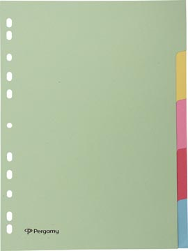 Pergamy intercalaires, ft A4, perforation 11 trous, carton, couleurs assorties pastel, 5 onglets