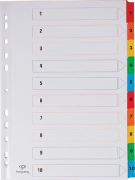 Pergamy intercalaires avec page de garde, ft A4, perforation 11 trous, couleurs assorties, set 1-10