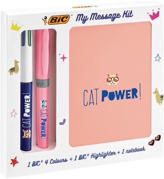 Bic Message Kit Catpower, stylo bille 4 colours, surligneur highlighter et carnet de notes ft A6