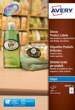 Avery J8102-10 étiquettes produits brillantes ft 63,5 x 42,3 mm, 180 étiquettes, blanc