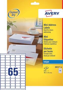Avery J8651-10 étiquettes mini ft 38,1 x 21,2 mm (b x h), 650 étiquettes, blanc