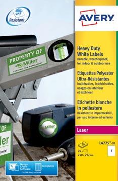 Avery L4775-20 étiquettes ultra résistantes ft 210 x 297 mm, 20 étiquettes, blanc