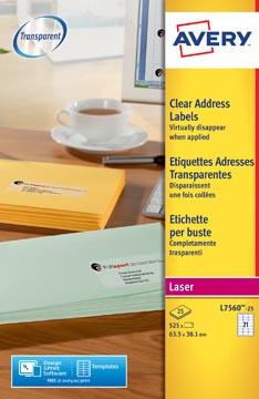 Avery L7560-25 étiquettes adresse ft 63,5 x 38,1 mm (b x h), 525 étiquettes, transparent