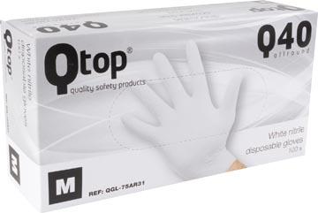 Gants en nitrile, medium, blanc, boîte de 100 pièces