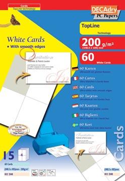 Decadry cartes de visite TopLine 60 cartes (4 cartes ft 148,5 x 105 mm par A4), coins droits
