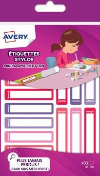 Avery Family étiquettes stylos minis, ft 5 x 1 cm, rose/violet, sachet brochable avec 30 étiquettes