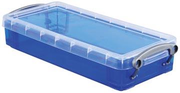 Really Useful Box plumier 0,55 litres, bleu transparent