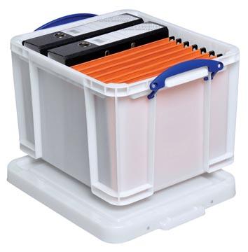 Really Useful Box boîte de rangement 35 litre, blanc avec poignées bleues